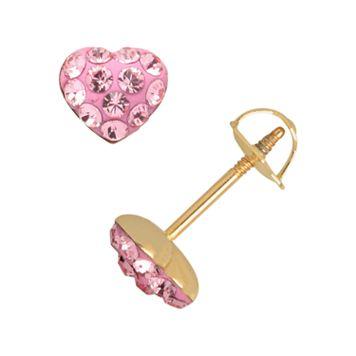14k Gold Crystal Heart Stud Earrings - Kids