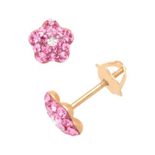 14k Gold Crystal Flower Stud Earrings - Kids