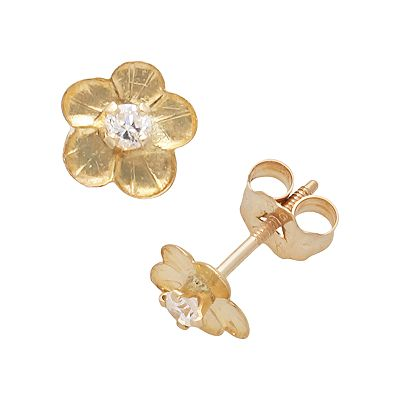 14k Gold Cubic Zirconia Flower Stud Earrings - Kids