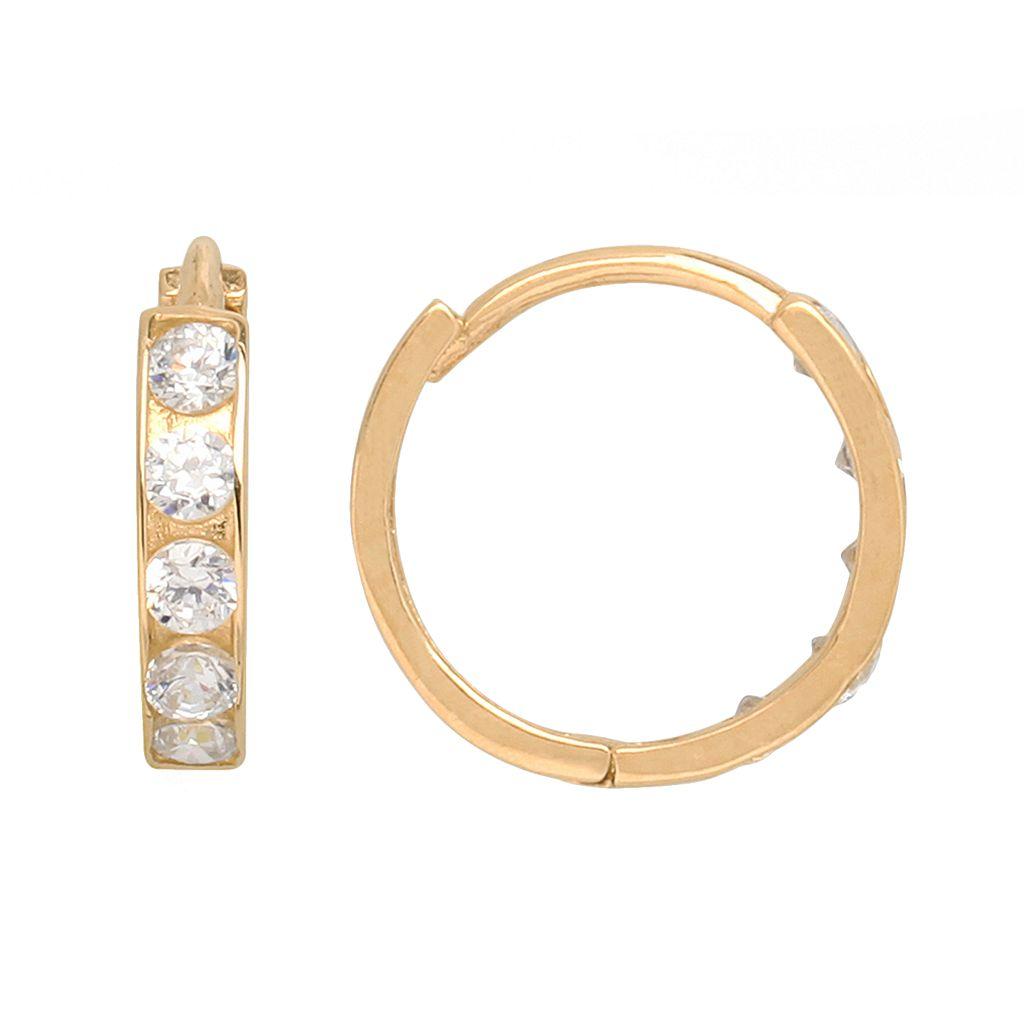 14k Gold Cubic Zirconia Hoop Earrings - Kids
