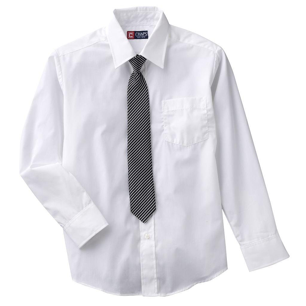 Boys 8-20 Chaps Button-Down Shirt & Tie Set