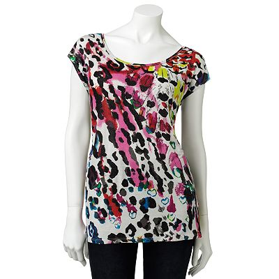Rock and Republic Leopard Embellished Tee