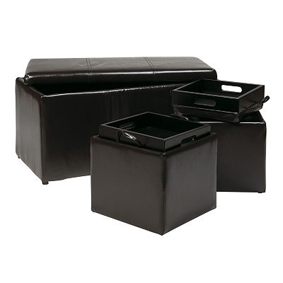 Office Star Products 3-Piece Storage Ottoman Set