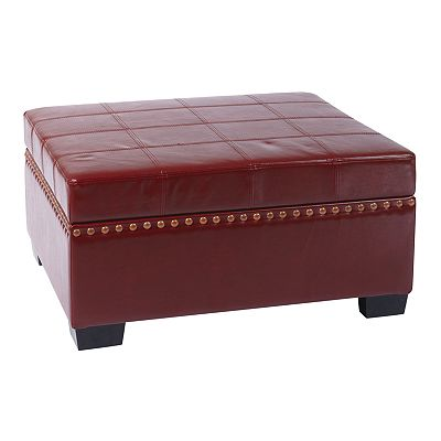 Office Star Products Avenue Six Detour Eco-Leather Storage Ottoman