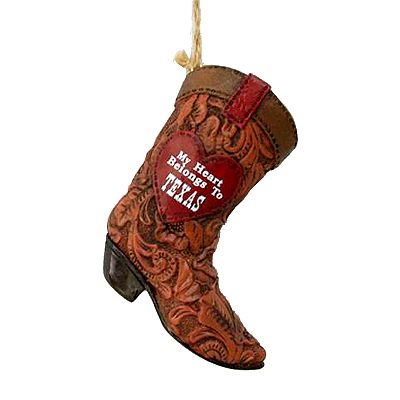 St. Nicholas Square My Heart Belongs to Texas Cowboy Boot Ornament