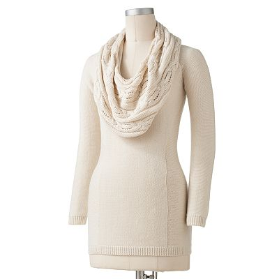 Apt. 9 Cable-Knit Cowlneck Tunic Sweater