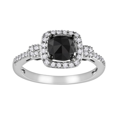 Cushion-Cut Black and White Diamond Frame Engagement Ring in 14k White Gold (1 ct. T.W.)