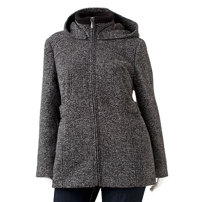 Croft and Barrow Hooded Tweed Wool Coat - Women's Plus
