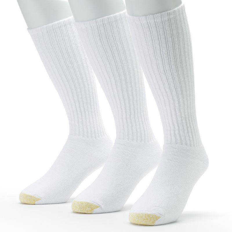 GOLDTOE3-pk. Ultra Tec Over-the-Calf Socks - Extended Size (White)