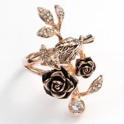 Rose Gold Tone Simulated Crystal Textured Bird and Flower Ring
