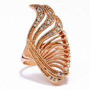 Rose Gold Tone Simulated Crystal Swirl Ring