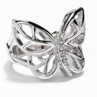 Silver Tone Simulated Crystal Butterfly Ring