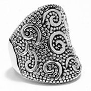 Silver Tone Textured Swirl Ring