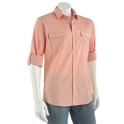 Axist Slim-Fit Easy-Care Stretch Roll-Tab Casual Button-Down Shirt