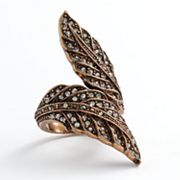 Rose Gold Tone Simulated Crystal Textured Leaf Ring