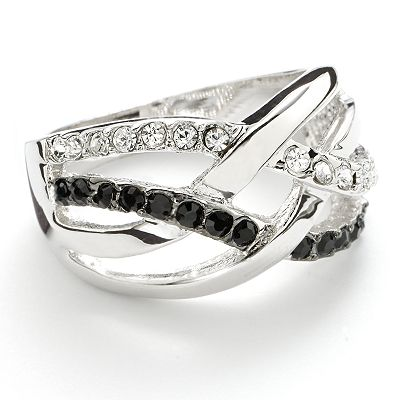 Silver Tone Simulated Crystal Woven Ring