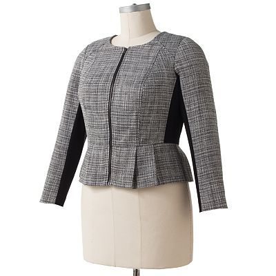 ELLE Lurex Peplum Tweed Jacket - Women's Plus