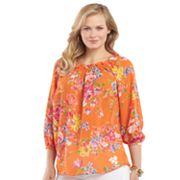 Chaps Printed Georgette Blouse - Women's Plus