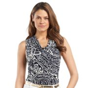 Chaps Scroll Drapeneck Top - Women's Plus