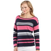 Chaps Striped Sweater - Women's Plus