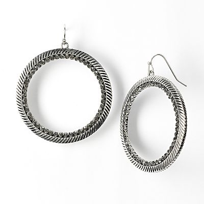 Simply Vera Vera Wang Jet Simulated Crystal Textured Hoop Drop Earrings