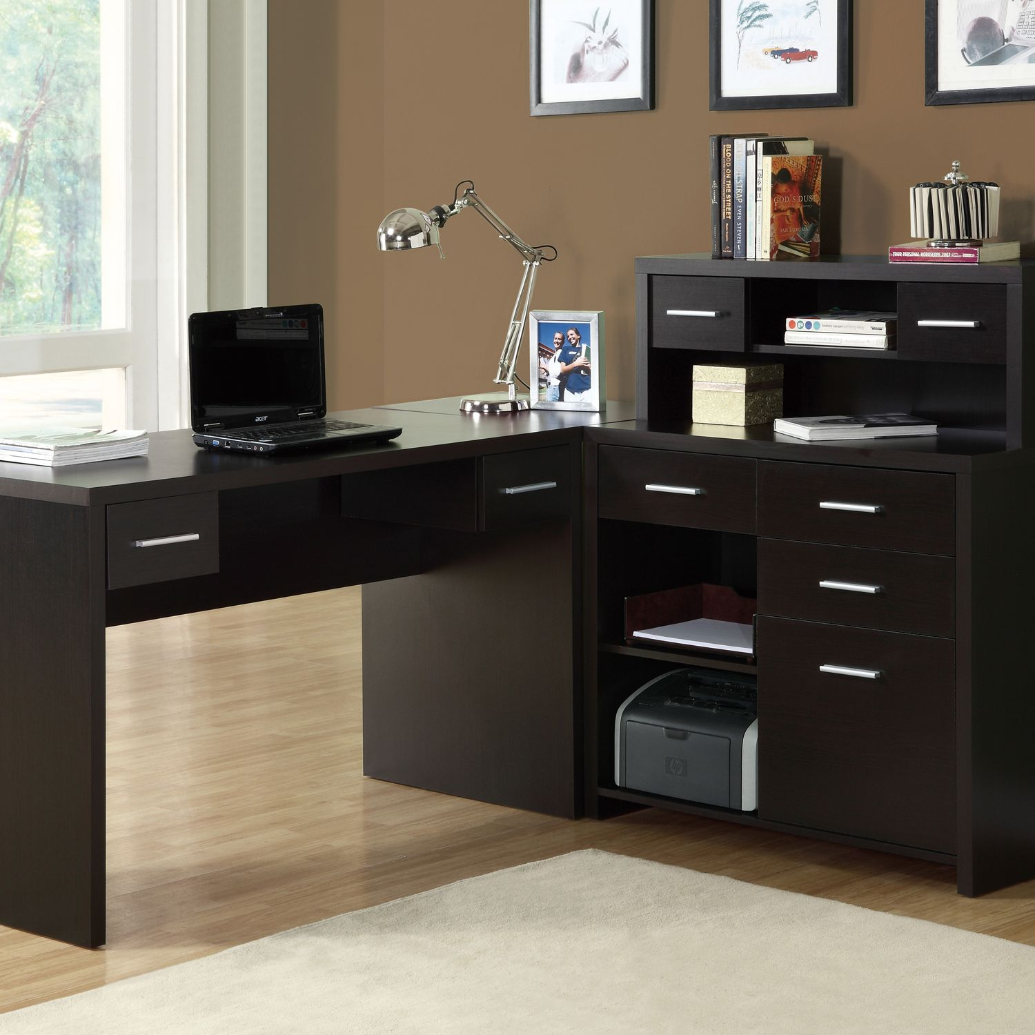Monarch Cappuccino L Shaped Home Office Desk