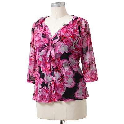 ELLE Floral Ruffle Mesh Top Set - Women's Plus