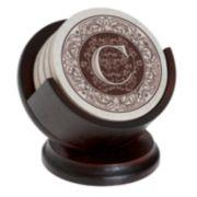 Thirstystone Monogram 4-pc. Coaster Set and Pedestal Holder