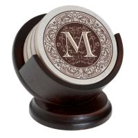 Thirstystone Monogram 4-pc. Coaster Set & Pedestal Holder