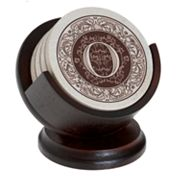 Thirstystone Monogram 4-pc. Coaster Set and Pedestal Holder