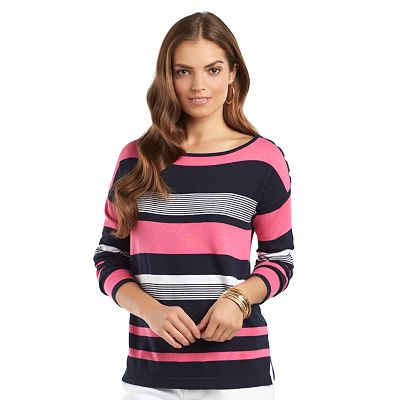 Chaps Striped Boatneck Sweater