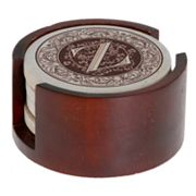 Thirstystone Monogram 4-pc. Coaster Set and Walnut Holder