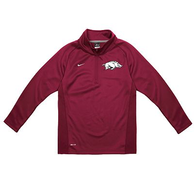 Nike Arkansas Razorbacks Dri-FIT Performance 1/4-Zip Shirt - Boys 4-7