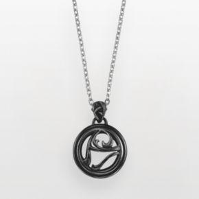 AXL by Triton Stainless Steel Onyx Circle Pendant - Men