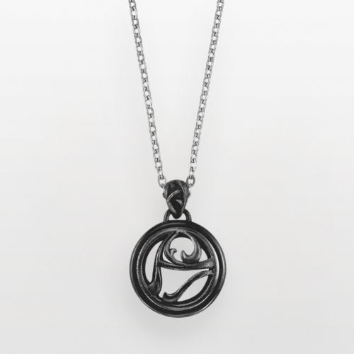 AXL by Triton Stainless Steel Onyx Circle Pendant - Men
