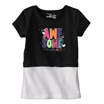 Jumping Beans Mock-Layer Awesome Ends with Me Tee - Girls 4-7