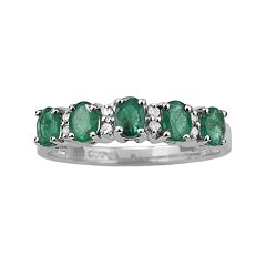 10k White Gold Emerald & Diamond Accent Ring