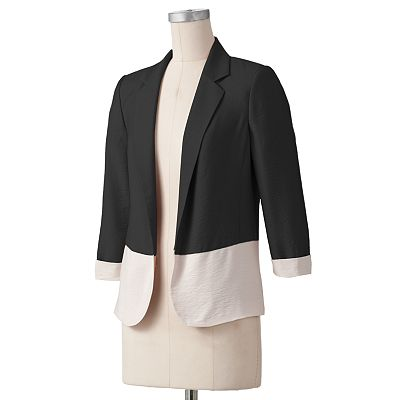 LC Lauren Conrad Crinkled Colorblock Blazer