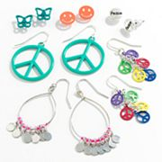 SO Silver Tone Peace Sign Button Stud, Drop and Chandelier Earring Set