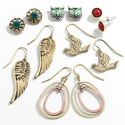 SO Tri-Tone Simulated Crystal Owl Button Stud and Drop Earring Set