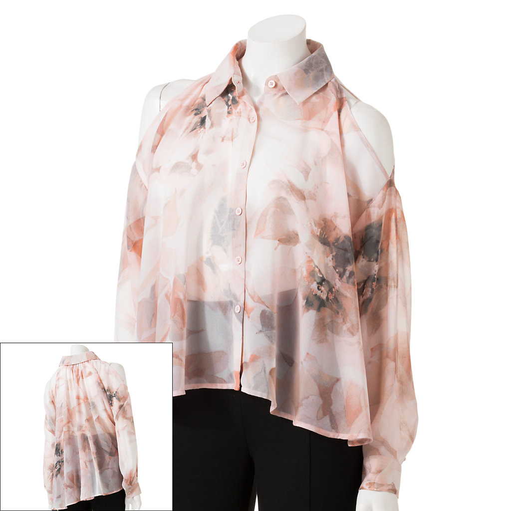 Women's Jennifer Lopez Floral Open-Shoulder Chiffon Shirt