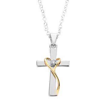 Silver Plated Two Tone Cubic Zirconia Cross Pendant
