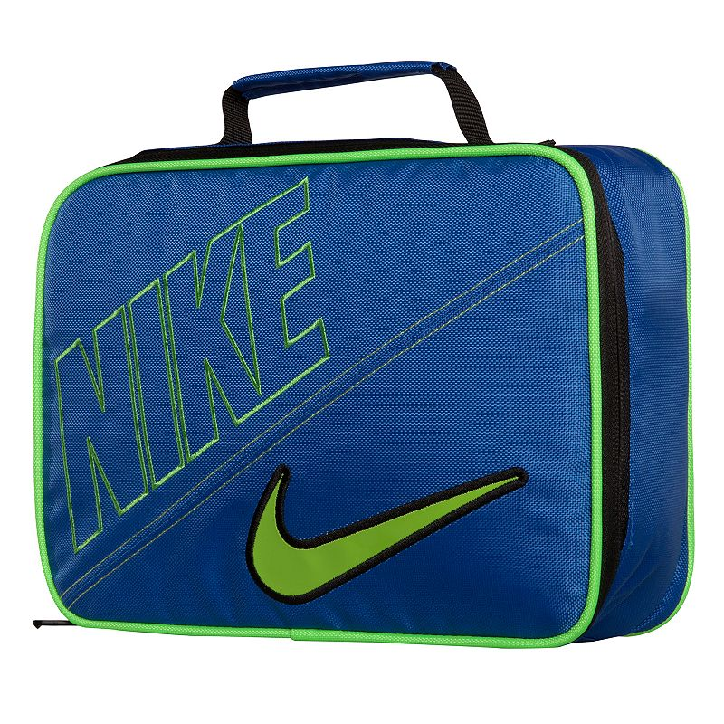 Nike Lunch Tote, Blue Signature Swoosh logo adds sporty appeal. Top handle makes carrying easy. Durabledesign ensures lasting use and easycleaning. Details: Zipper closures Polyester Wipe clean Model no. 9A2217A . Size: One Size. Color: Blue.