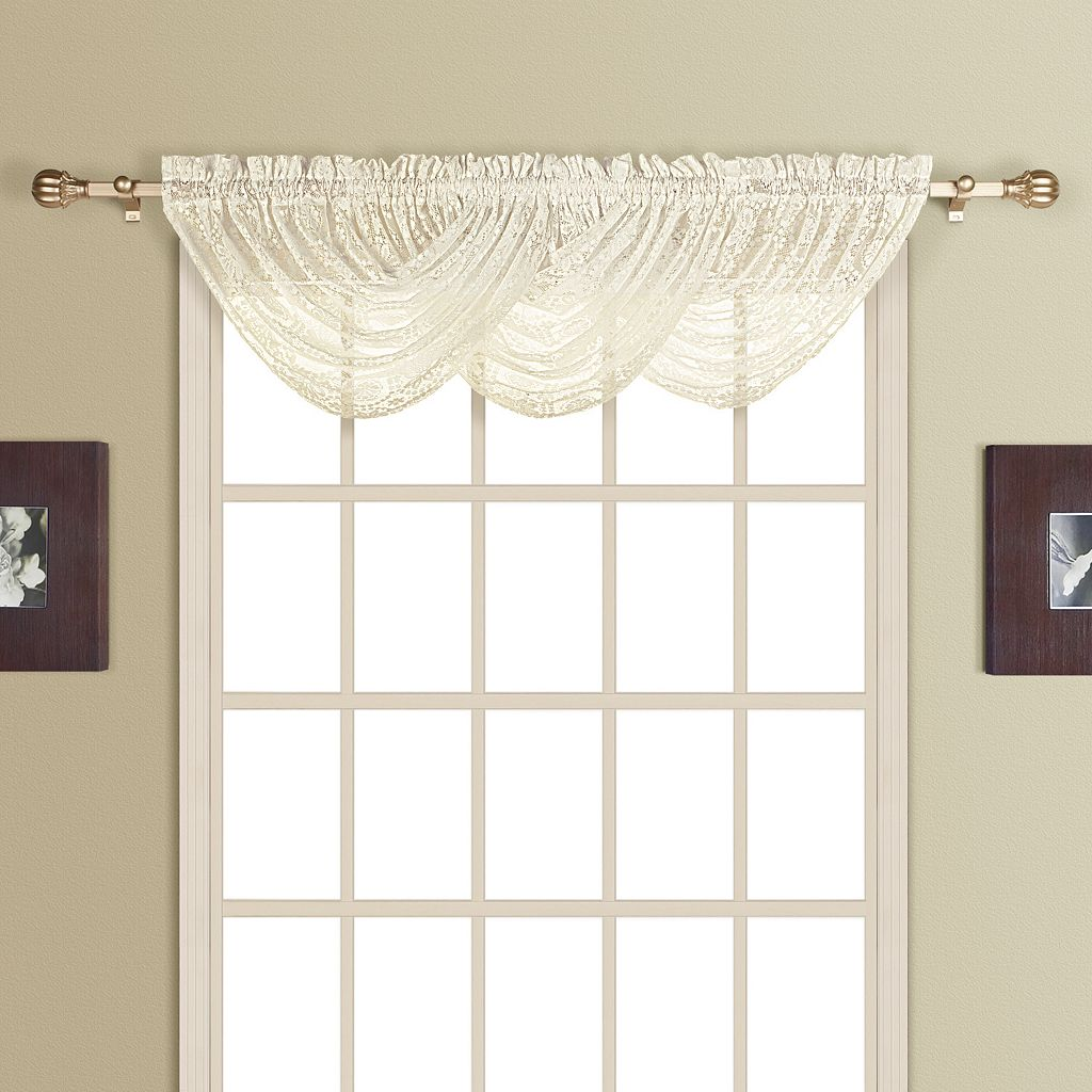 United Curtain Co. Rochelle Lace Waterfall Window Valance - 44'' x 38''