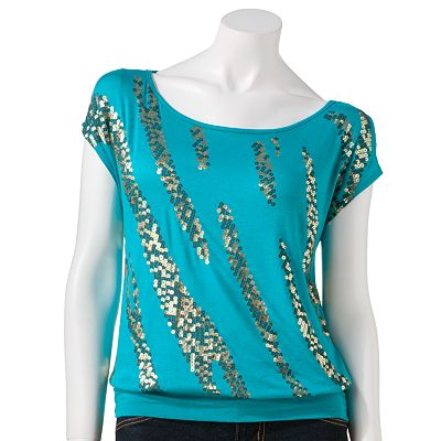 HeartSoul Foil Banded Top - Juniors