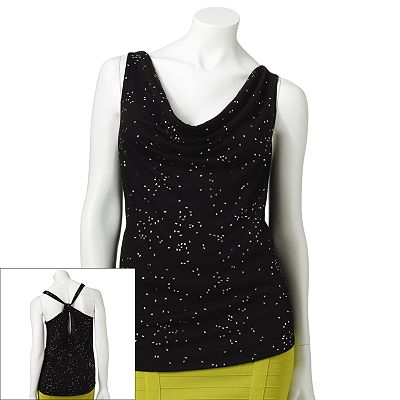 Rock and Republic Embellished Drapeneck Tank