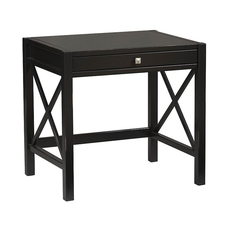 Linon Anna Laptop Desk, Black Be organized and efficient with this Linon Annalaptop desk.In black. : Pull-out keyboard tray creates more desk space. Black finish lends sleek style. : 30H x31 1/2W x 24D Wood/MDF Assembly required Manufacturer's6-monthlimited warrantyFor warranty information please click here Model no. 86111C124-01-KD-U Size: Furniture. Gender: Unisex. Age Group: Adult.