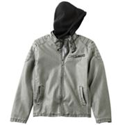 Helix Faux-Leather Hooded Jacket - Men