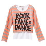 Knitworks Rock Fame Dance Striped Neon Crop Top and Tank Set - Girls Plus