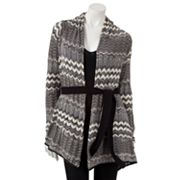 Jennifer Lopez Chevron Open-Front Cardigan